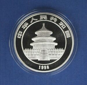 1998 China 1oz Small Date Silver Panda 10 Yuan coin in Capsule with COA