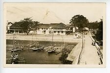 RARE Makassar RPPC Indonesia Vintage Photo SULAWESI Boats Bikes Cars SIGNS 1930s