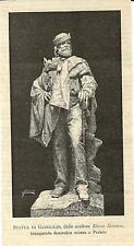 Stampa antica PESARO Statua di Giuseppe Garibaldi Marche 1891 Antique print