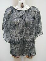 Dorothy Perkins Blue Patterned Sheer Chiffon Elasticated Hemline Top Size L