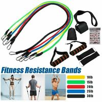 11Pcs Men Women Resistance Bands Workout Exercise Yoga Crossfit Fitness Tube New