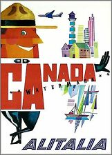 Canadian Mountie Canada 1950 Alitalia Vintage Poster Airline Travel Print