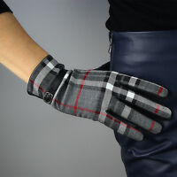 TECH GLOVES Plaid Real Leather Wrist Long Red Gray Grey Scottish Grid Tweed Wool