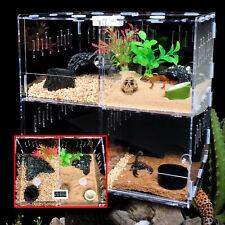 4-Grids Acrylic Reptile Cage Breeding Box Tarantula Insect Lizard Clear Pet Tank