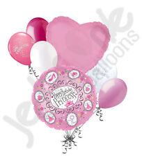 7 pc Pink Princess Tiara Balloon Bouquet Party Decoration Happy Birthday Glitter