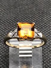 9ct Gold Princess Cut Citrine & Diamond Ring By Luke Stockley London