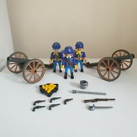 Vintage Playmobil 3812 Union Confederate Soldiers With Cannon & Extra Cannon