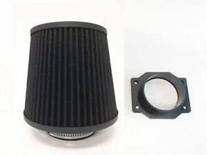BLACK Intake Filter + MAF Sensor Adapter For 93-97 Infiniti J30 3.0L V6