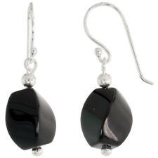 """.925 Sterling Silver Dangle Earrings, w/ Beads & Twisted Black Obsidian, 1 3/16"""""""