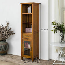Logan Linen Tower Free Standing Floor Cabinet Display 1 Drawer 3 Open Shelves