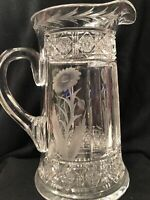 CUT GLASS CRYSTAL PITCHER SUNFLOWERS AMERICAN BRILLIANT HTF VASE VASES TUTHILL??
