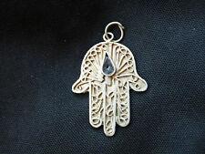 Souvenir de Marrakech Maroc Vintage Pendentif Main de Fatma en métal Argent