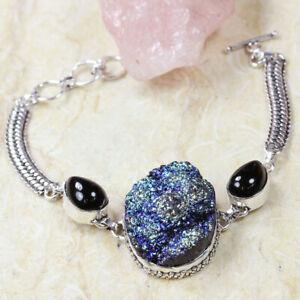 "Titanium Druzy 925 Silver Plated Handmade Gemstone Bracelet of 8.5"" Ethnic Gift"