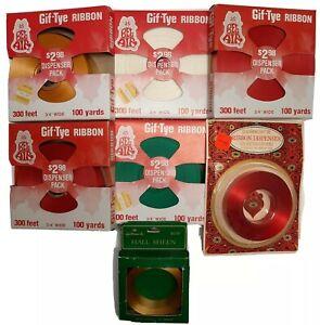 Vtg Christmas Wrap Ribbon Bel Air Jubilee Hallmark 7 Rolls Red Green Gold White