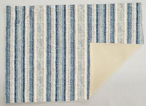 Blue Gray Beige Stripes Runner Placemats Coasters & Cloth Napkins Table Linen