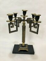 "Israel Brass 5 Arm Candelabra Candlestick Holder, 11 1/2"" Tall, 7"" x 7"" Widest"