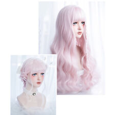 Women Harajuku Gradient Curly Light Pink Japanese Lolita Synthetic Cosplay Wig