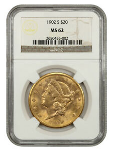 1902-S $20 NGC MS62 - Liberty Double Eagle - Gold Coin