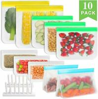 10x Reusable Silicone Zipper Food Snack Bag Home Ziplock Sandwich Storage Bags