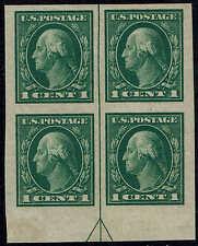 #408 Bottom Arrow Block-1912 1 Cent Imperf Issue Mint-Og/Nh