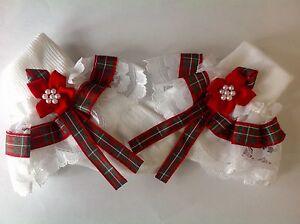 Handmade tartan baby/ girls frilly socks various sizes