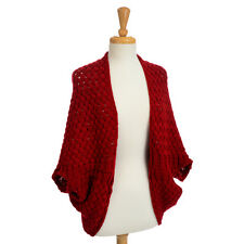 New Heavy Weight Burgundy Knitted Cape Wrap Jacket Sweater, One Size Fits Most