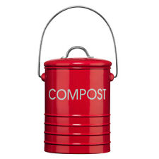 Premier Metal Red Compost Bin Red With Folding Handle & Lid Kitchen Food Waste