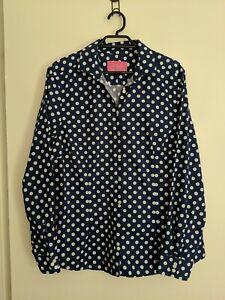 Charles Tyrwhitt Polka Dot Shirt Blue And White Size 16