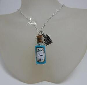 Happily Ever After glass vial necklace + fairytale castle something blue wedding