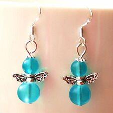 Angel Earrings Blue Frosted Glass Sterling Silver Hooks New Drop Dangle LB201