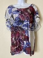 Energe World Wear Womens Size XL Floral Pattern Top Flutter Sleeve