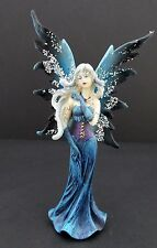 Blue Fairy Statue with Tattoos and Glitter Wings Mythical Fairy Figurine