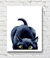"Sneaky Black Cat Art Print Watercolor Painting 11"" x 14"""