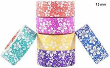 Colourful Decorative Designer Adhesive Paper Washi Tape : 15 mm x 5m : 6 rolls