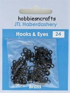 BLACK HOOKS & EYES SIZE 0 Pack of 24 sets JTL201 Dressmaking