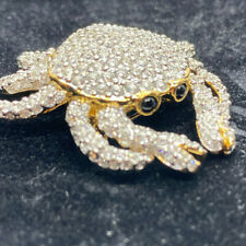 Plated Encrusted With White Crystals. Swarovski Crystal Pave Crab Pin. Gold