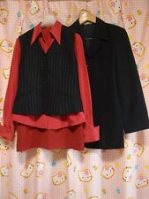 ^_^ Japanese OL Uniform Set 4 items! Excellent Cond. Red/Black. Size 9 !