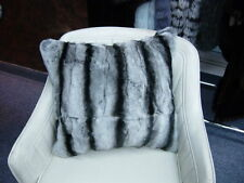CHINCHILLA DOUBLE SIDED FUR PILLOW 4 BLANKET BEDROOM HOME DECOR SOFTEST FUR