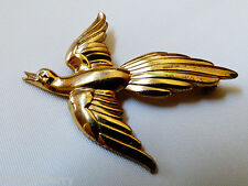 Silver 925 Bird Pin Brooch Forstner Gold plate on Sterling
