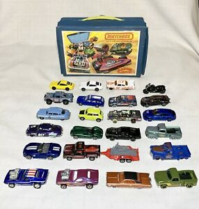 Hot Wheels Matchbox Lot 24 Diecast 1:64 Vintage 1976 Soft Carry Case and 2 Trays