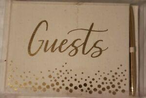NIB David Tutera WEDDING or PARTY GUEST BOOK Cream Burlap and Gold + Gold Pen