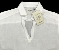 Men's MURANO White Open Neck Pure Linen Shirt XL X-Large NEW NWT AmAzInG!!