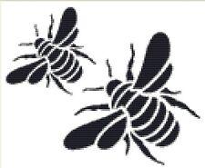 CROSS STITCH KIT -  BLACKWORK BEES  22 X 18 CM