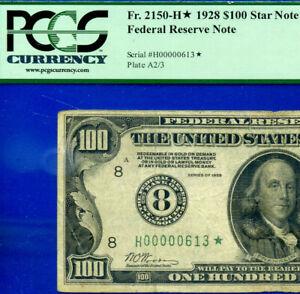 Rare 1928 $100 FRN (( 00000613* )) PCGS F-15  ** 3-Digit St. Louis STAR **.