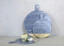 Round Grey Marble & Mango Wood Serving Chopping Pizza Paddle Board Nkuku Bwari