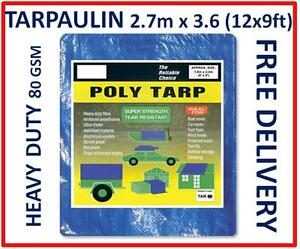 Heavy Duty Tarpaulin 12x9ft, 2.7m x 3.6Metres, Blue Groundsheet Waterproof Cover