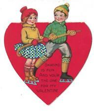 Vtg Bi-Fold Valentine Greeting Card Boy & Girl Ice Skatring Holding Onto Cane