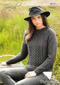 Stylecraft 9075 Knitting Pattern Ladies Sweater in Special Aran