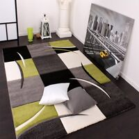 Grey and Green Rug for Living Room Checked Black Olive Grey Carpet Small Large