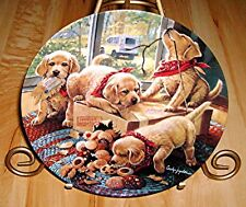 LITTLE BANDITS Handle With Care GOLDEN LABRADORS RETRIEVERS PUPPY PLATE